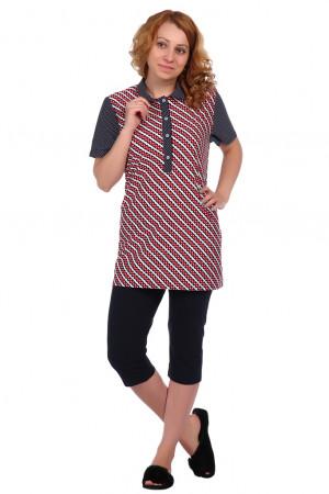 Жен. блуза арт. 16-0346 Красный р. 52 ЕленаТекс